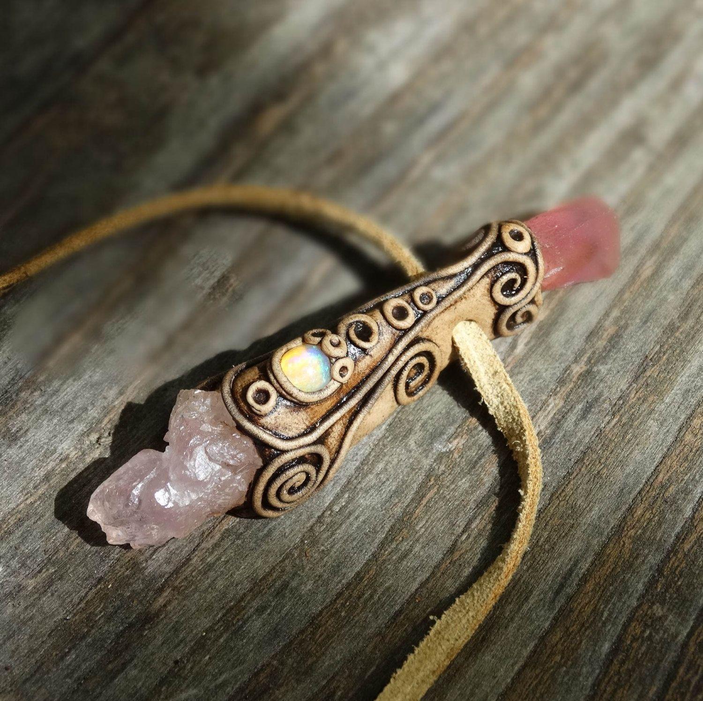 FREE SHIPING Rose Quartz  Pendant Welo Opal Cobalto by FairyDrop, €75.00