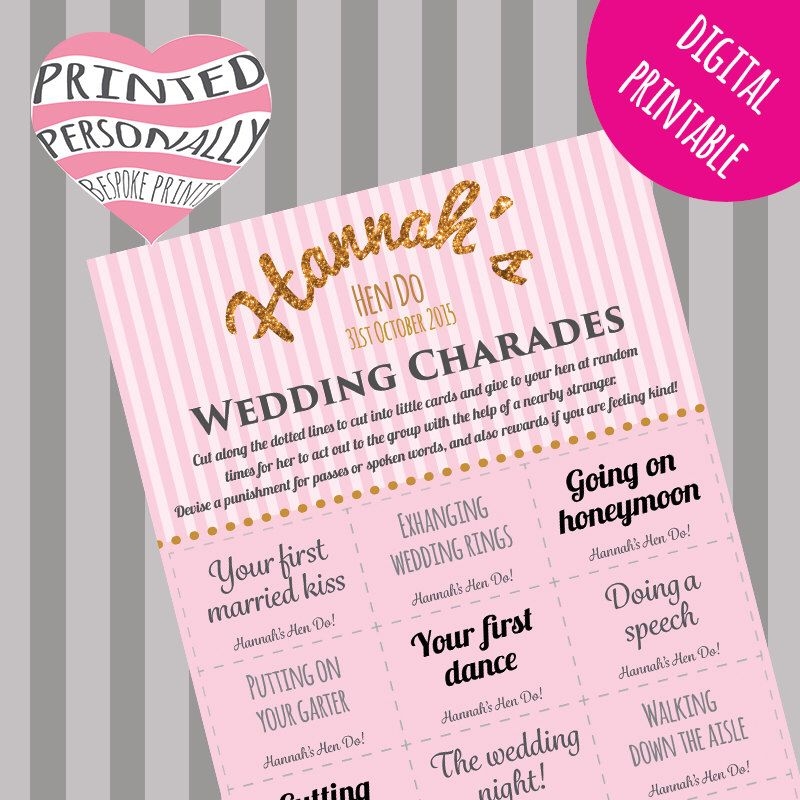 Wedding Charades Ideas: Personalised Hen Party Game