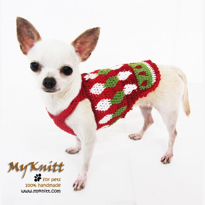 Elf dog sweater for Christmas houndstooth pattern red and green ...
