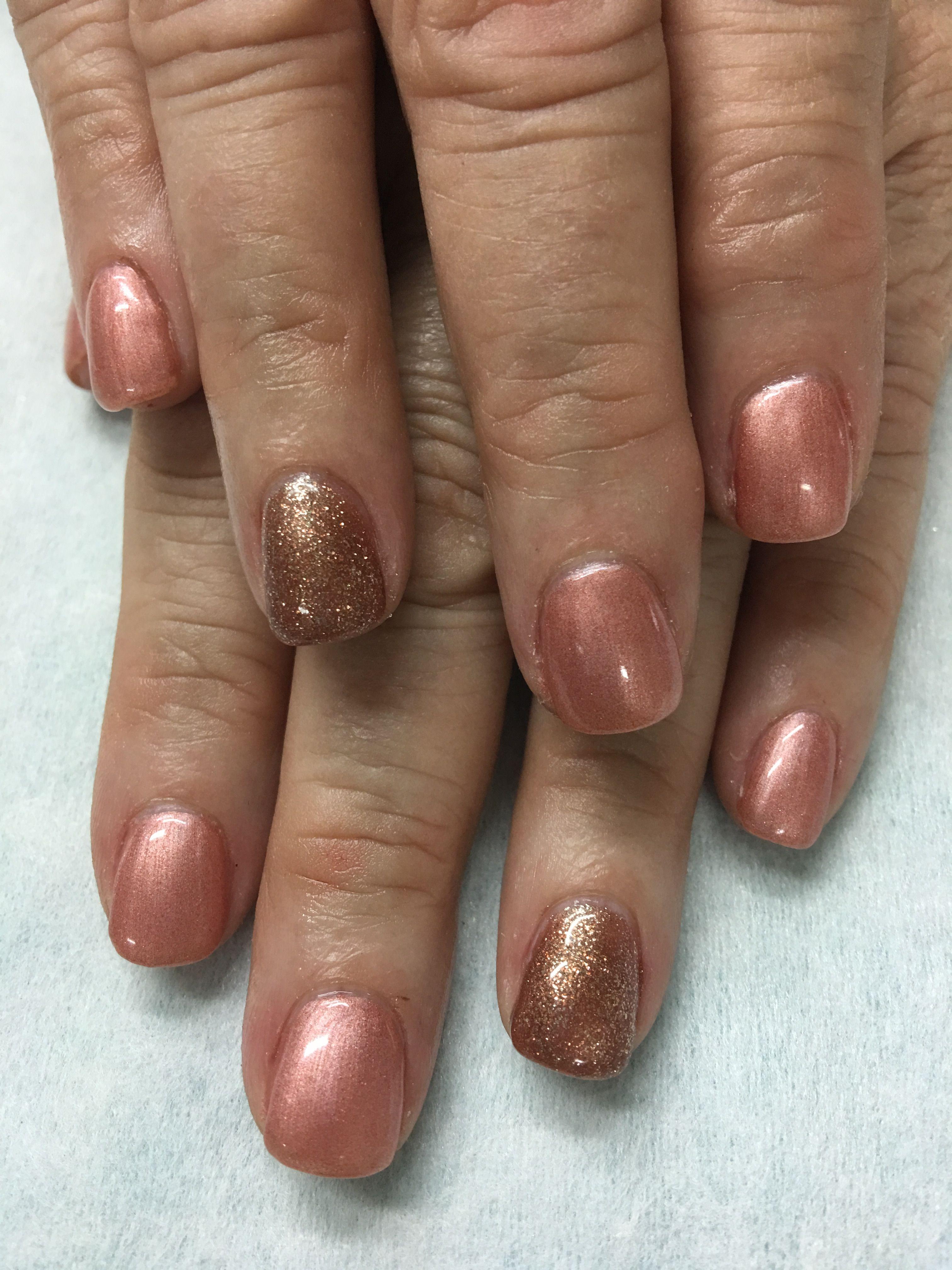Copper bronze gel nails | Gel Nail designs | Pinterest