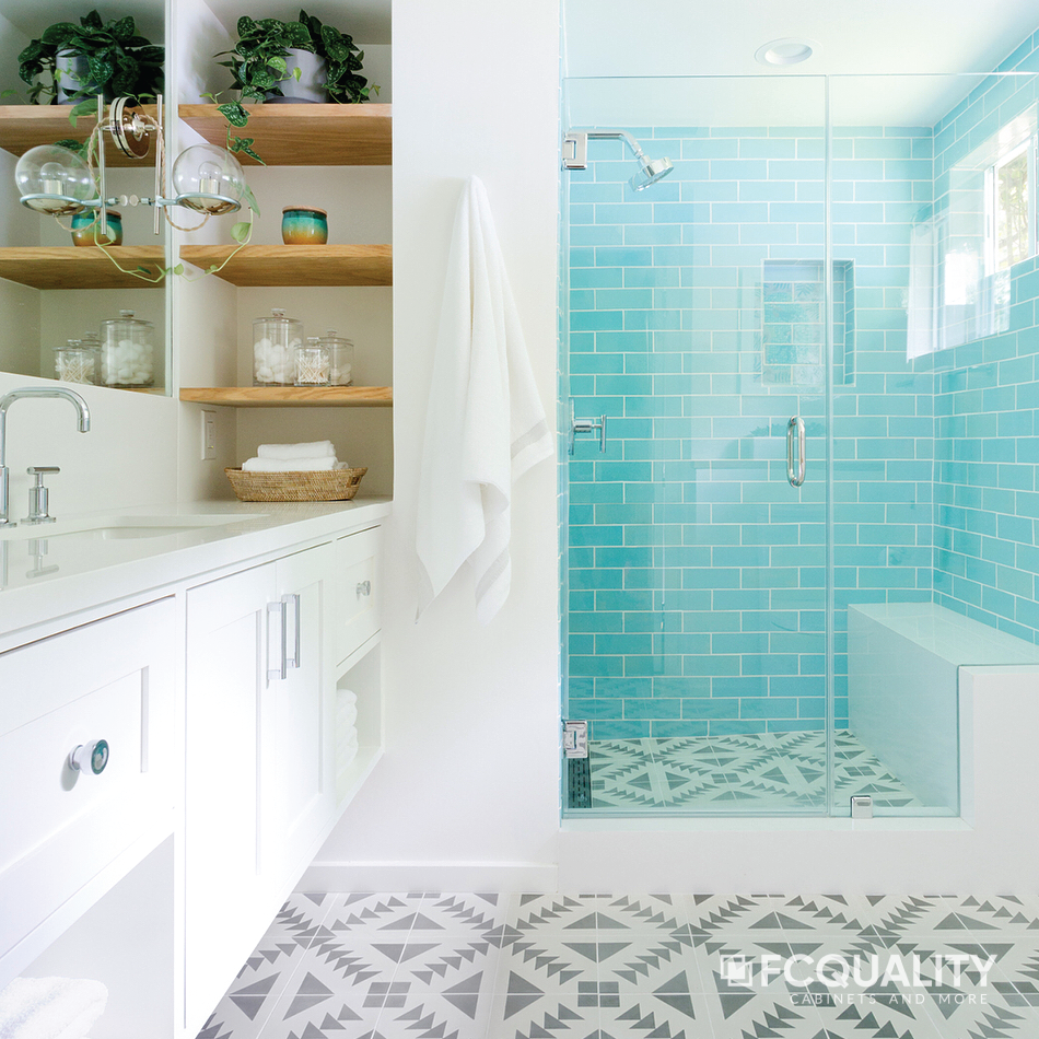 Turquoise tile, mosaic flooring, and a Whitehall vanity and shower ...