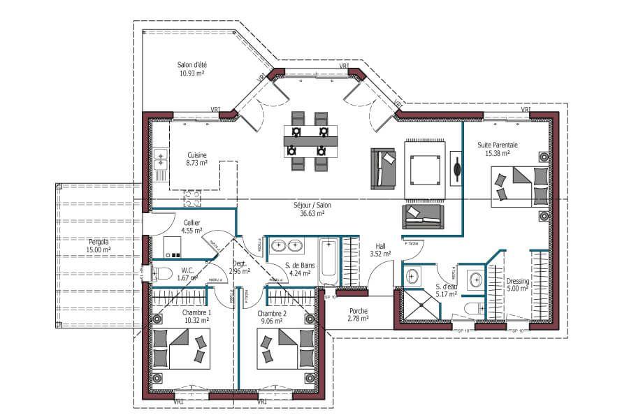 Mod le lumi re plan maison plein pied avec 3 chambres pergola et salon d 39 t maison plain - Mca maisons de la cote atlantique ...
