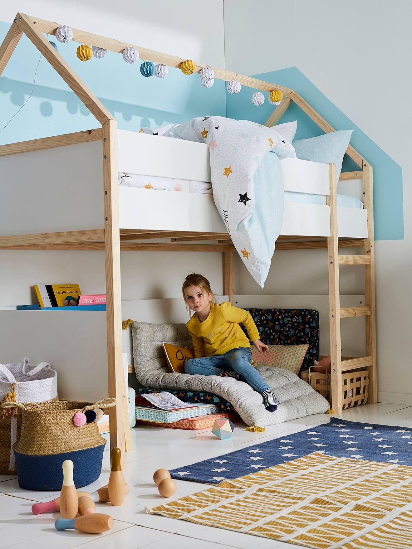 """Vertbaudet Kinder Hochbett ,,Cabane"""", Hausform in weiß"""