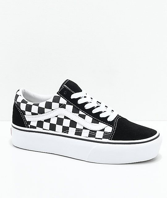 d051db5b784 Vans Old Skool Black   White Checkered Platform Skate Shoes