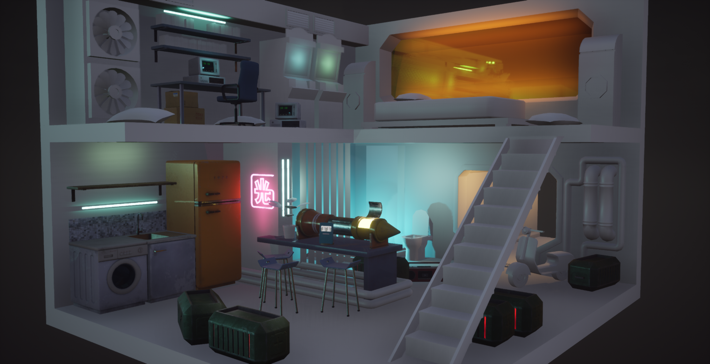 Wip Ue4 Cyberpunk Room Polycount Futuristic Interior Small House Interior Design Punk Room