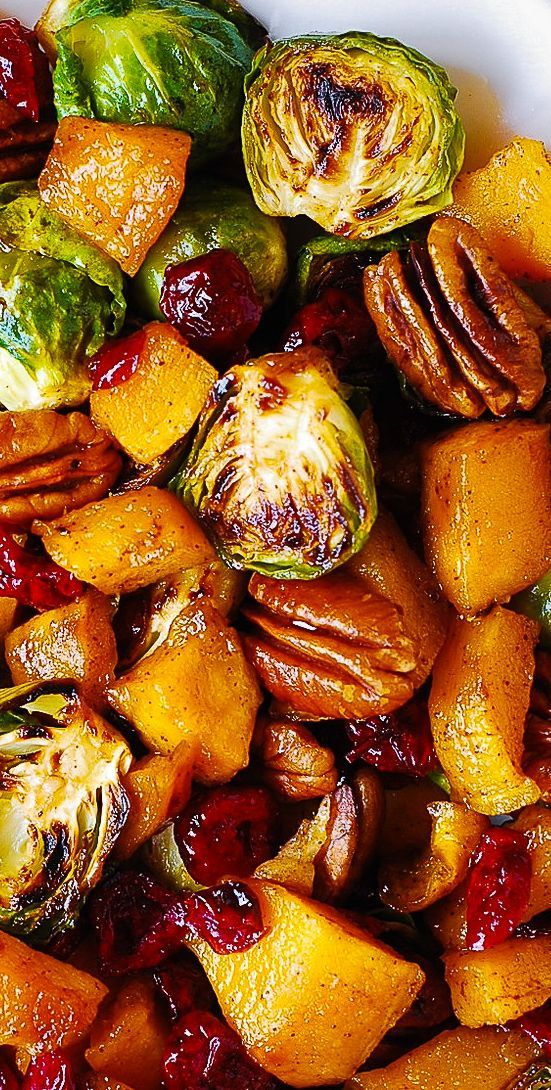 Thanksgiving Side Dish Butternut Squash Brussels Sprouts Cranberries Pecans