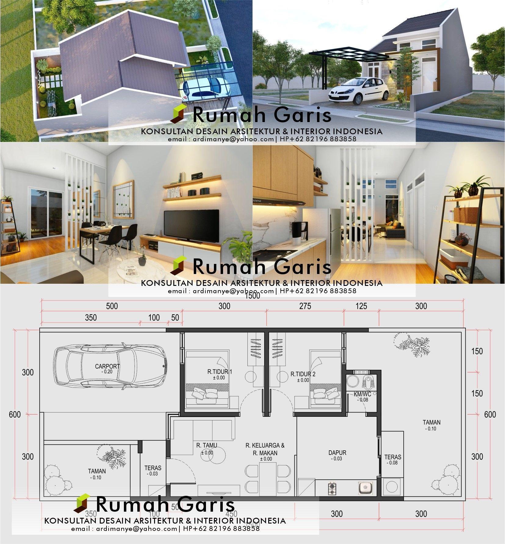 Layout Rumah 1 Lantai Modern Minimalis 6x15 M 2 Kamar Tidur Kitchen Luas Di 2021 Rumah Denah Rumah Dekorasi Rumah Elegan