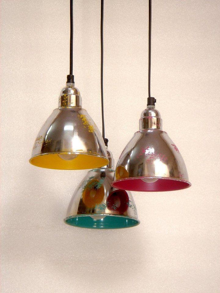Kasper Wohndesign Hangelampe Metall Vernickelt Bunt 3er Set Tricolore Lampen Leuchten Gluhbirne Retro