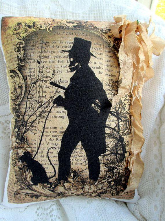 HALLOWEEN Skeleton Pillow Tea Dyed Halloween by ThePeonyShanty