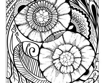Abstract Flower And Shapes Advanced Coloring Page Digital Download Printable