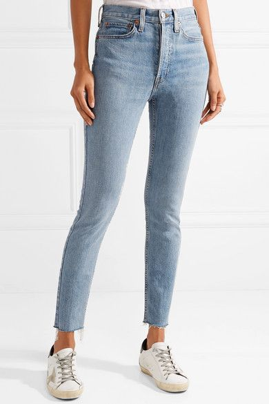 Originals High-rise Ankle Crop Frayed Skinny Jeans - Mid denim Re/Done Countdown Package For Sale Many Kinds Of Clearance Authentic QvSfvDPMGf