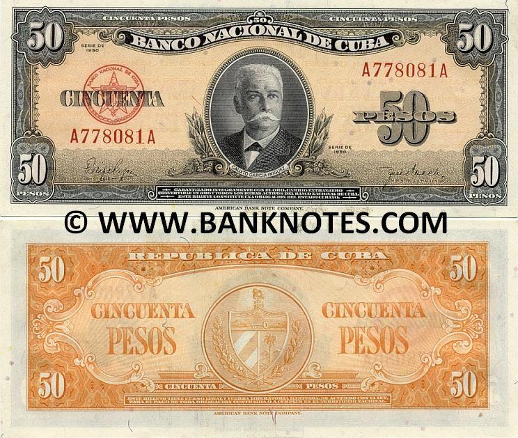 Cuba 50 Pesos 1950 Front Portrait Of Calixto García E Iñiguez 1839 1898