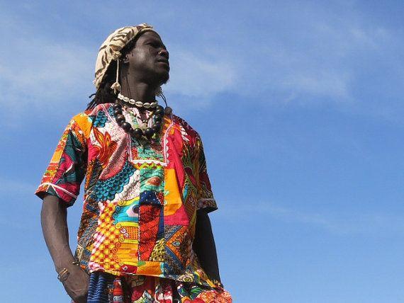 Colour Me Crazy // Men's African Shirt // Recycled Patchwork // Festival Shirt // Summer Shirt // Colourful Shirt // Hawaiian shirt rf4Z7
