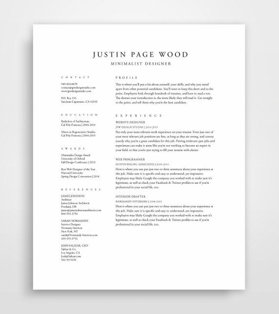 Traditional Resume Template Elegant Classic Professional Templa