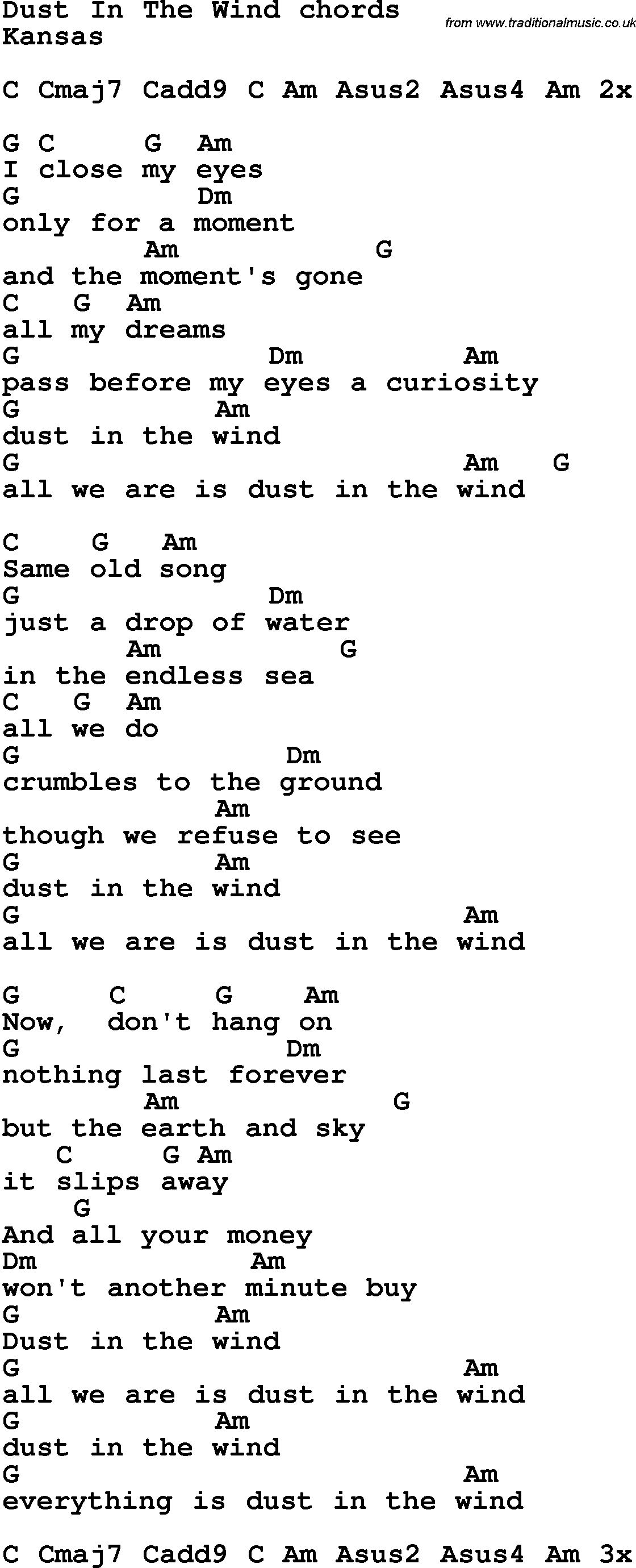 Song Lyrics With Guitar Chords For Dust In The Wind Music