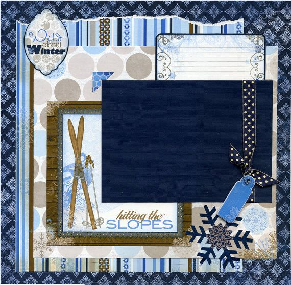 Hitting The Slopes Premade Snow Ski Scrapbook Page Set Scrapbook