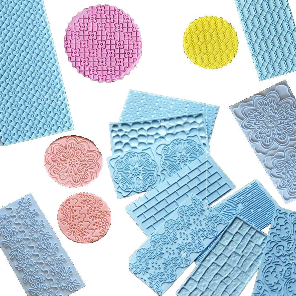 Set Of 12 Plastic Embossed Icing Moulds Kits Anyana Wood Brick Cobblestone Quilted Grid Diamond Designs Chocolate Embosser Fo Imprinting Diamond Design Fondant