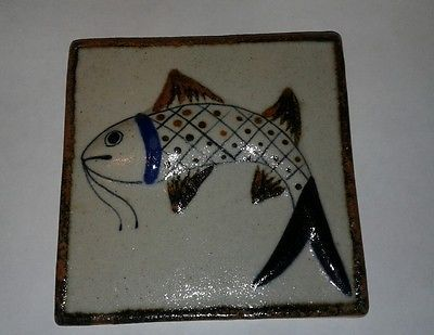 Details About Mexican Pottery Wall Tile Japanese Koi Fish Folk Art Pottery  Hand Painted Mexico