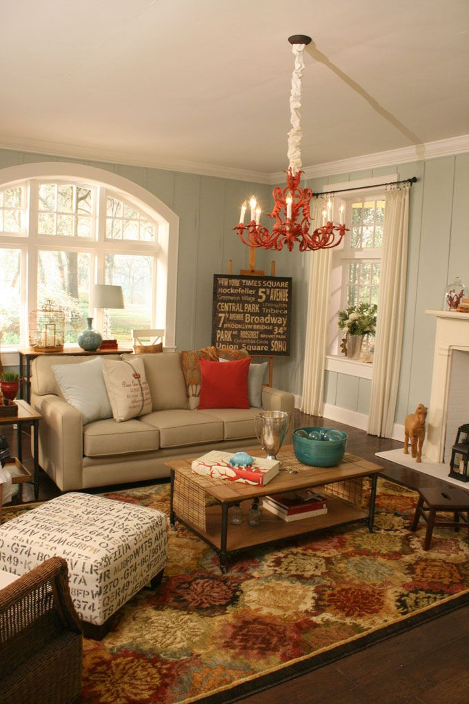beautiful wall color  (Copen Blue by Sherwin Williams) and the red painted chandelier (Antique Red by Sherwin Williams).
