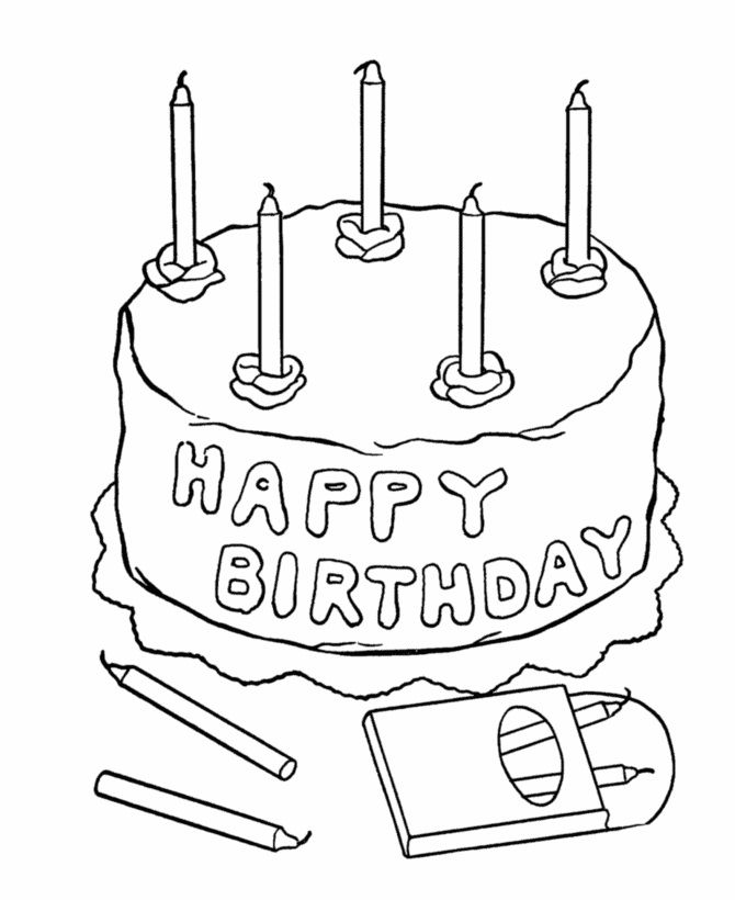 five candles birthday cake coloring page  geburtstag