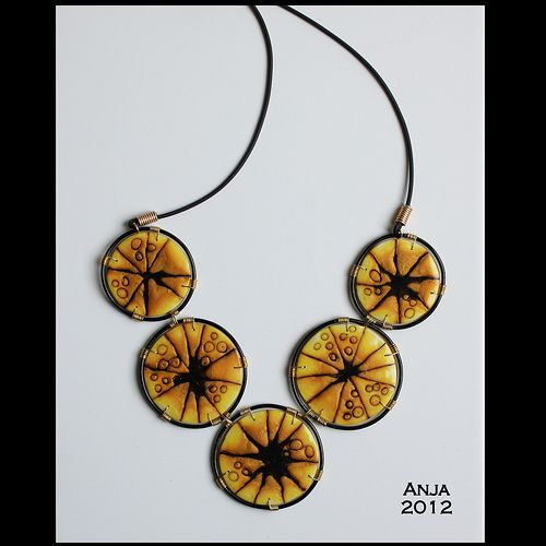 Check out my 7th tutorial, it's in the magazine From Polymer to Art - Yellow! For more info: www.frompolymertoart.com   Necklace