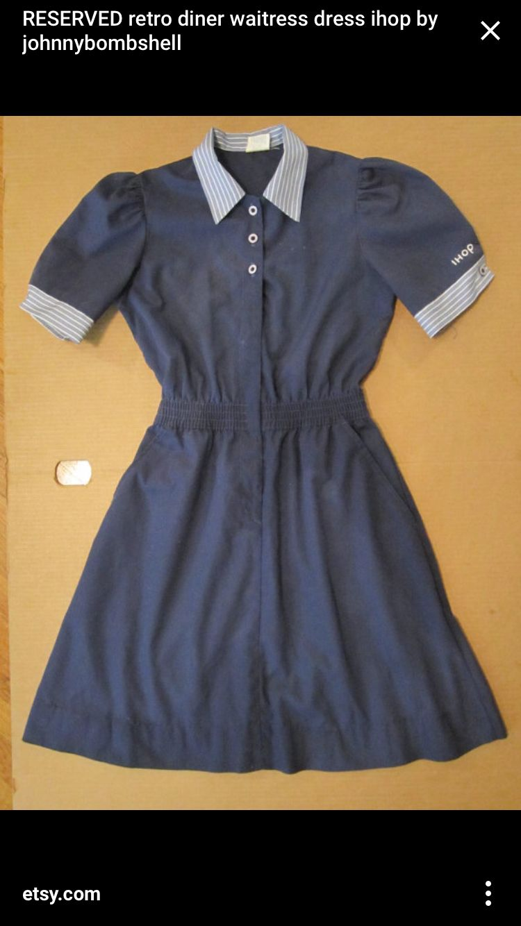 IHOP retro waitress uniform dress, I wore this in the early 90s. Lady over the servers refused to retire so we wore this uniform with white nurse mate shoes until she expired