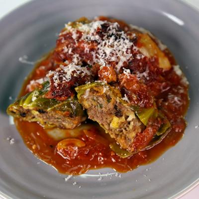 Mom's Stuffed Cabbage with Pancetta and Pecorino Romano @keyingredient #tomatoes #italian