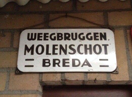Emaille bord Molenschot Breda