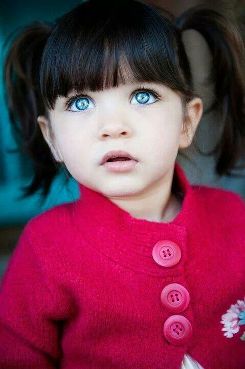 Baby Girl With Blue Eyes And Brown Hair