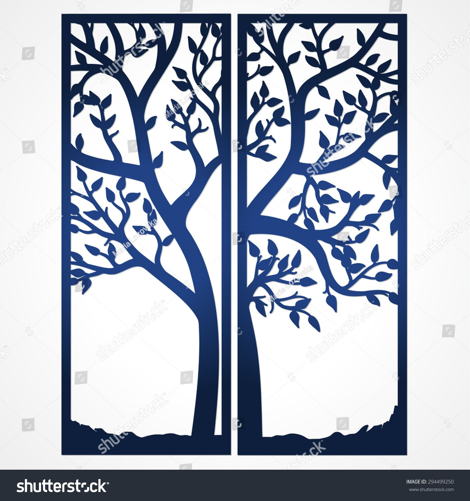 Two Fold Wedding Invitation Template in 4  Tree silhouette