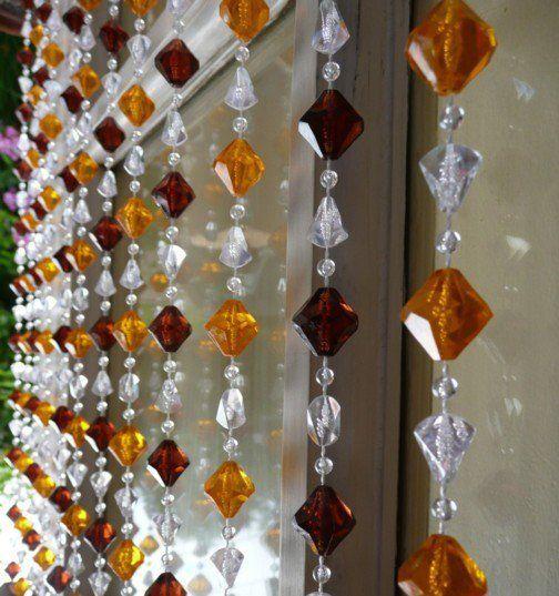 8 Brown Amber Gemstone Shape Beaded Curtain 8 Feet Long