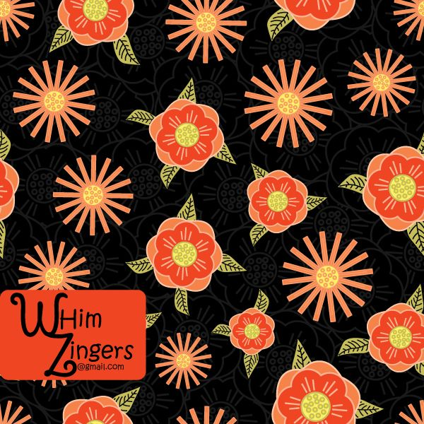 A digital repeat pattern for seamless tiling. #repeatpattern #seamlesspattern #textiledesign #surfacepatterndesign #vectorpatterns #homedecor #apparel #print #interiordesign #decor #repeat #pattern #repeat #seamless #repeating #tile #scrapbooking #wallpaper #fabric #texture #background #whimzingers #orange #red #black #floral #flowers