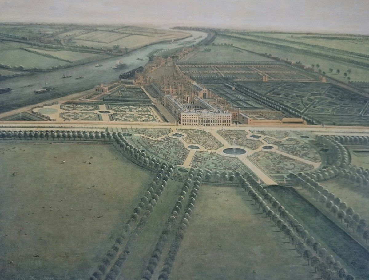Hampton Court Palace #London created by Cardinal Wolsey & given as a gift to Henry VIII (painted by Leonard Knyff 1714-27 Royal Collection)