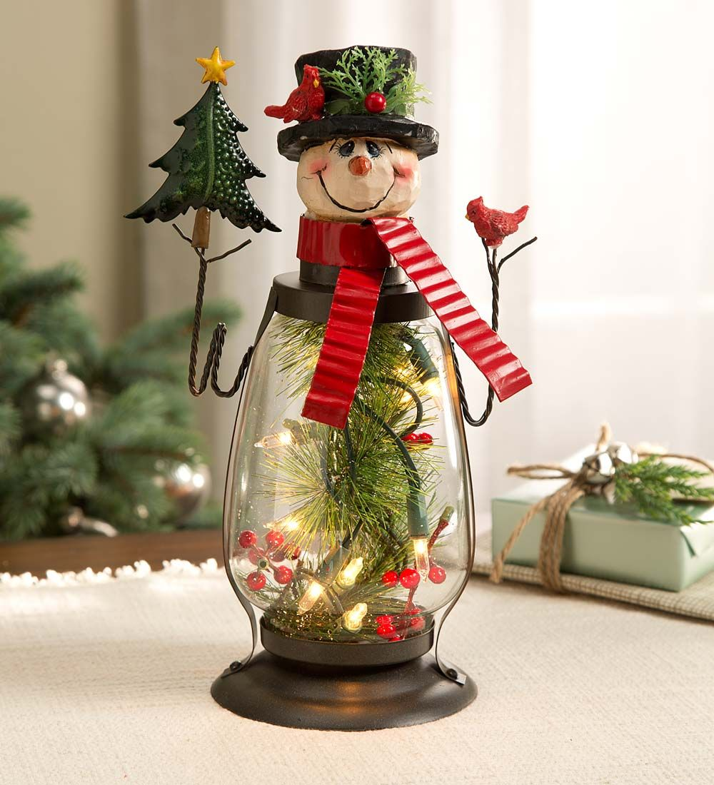 Lighted Holiday Snowman Lantern | Indoor Holiday ...