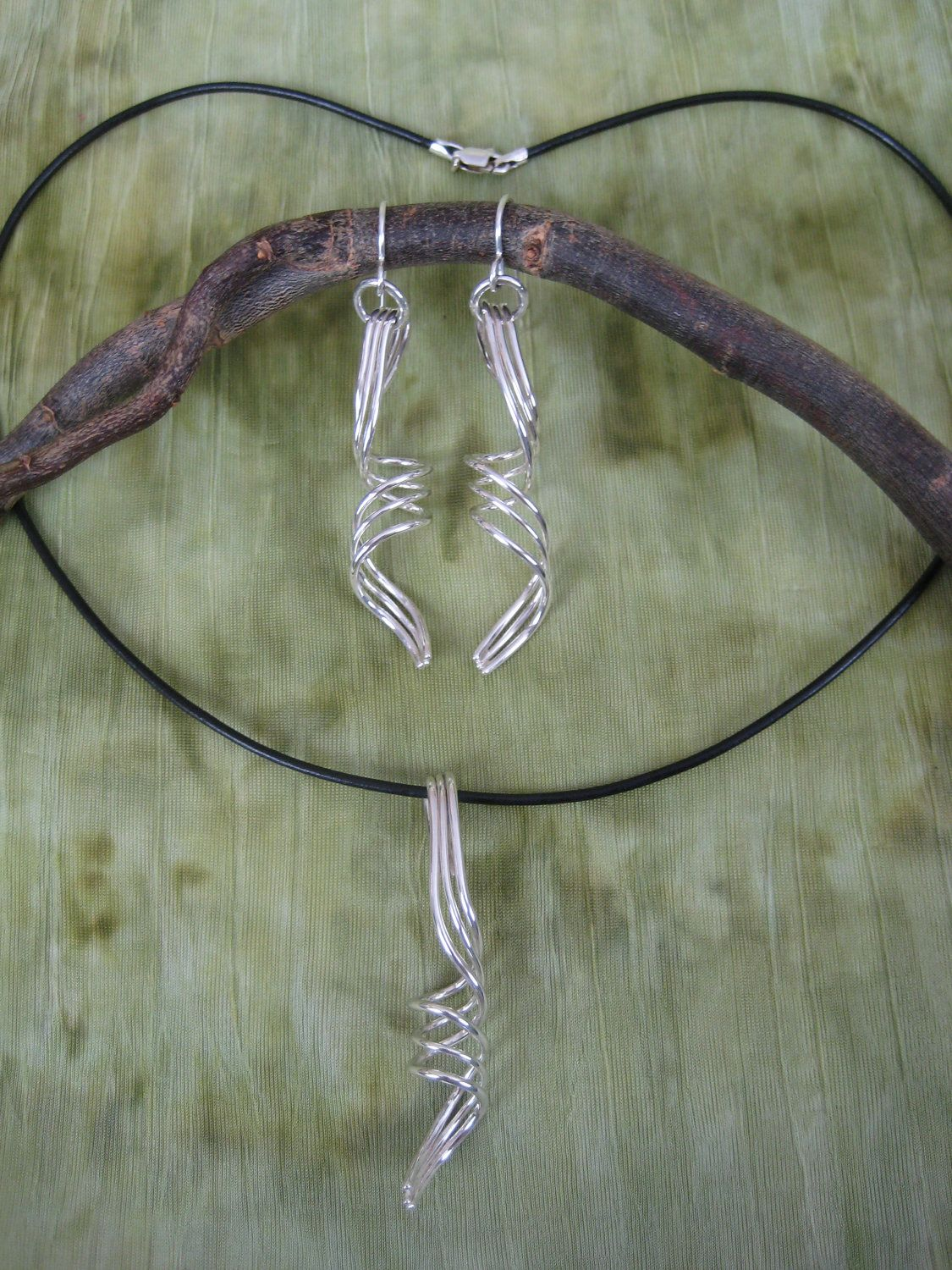 One of a kind spiral earrings and necklace pendant set sterling