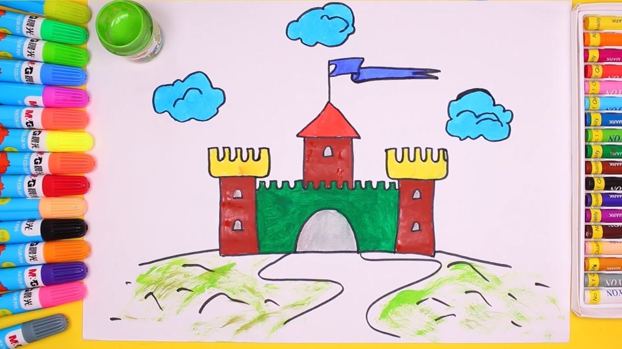 Watercolor books for kids - Find This Pin And More On Teach Drawing Castle For Children Coloring Page Castle With Watercolor Coloring Book For Kids By Kimponkids