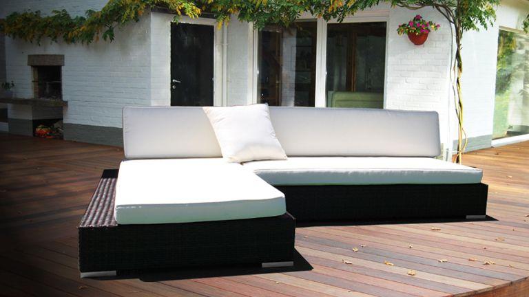 Salon De Jardin Resine Blanc Design - Canap? d?angle en r?sine tress ...