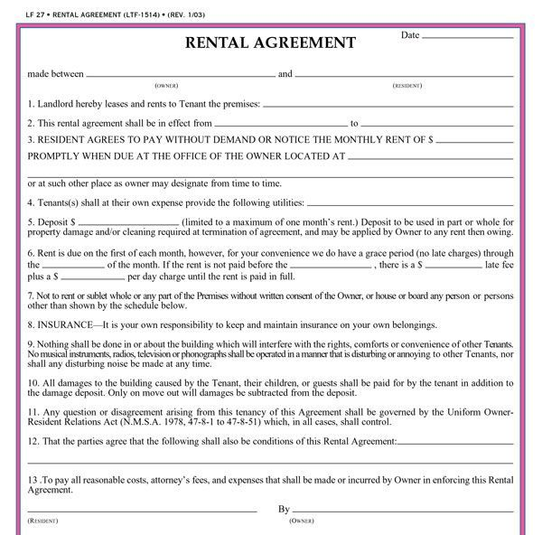 Residential Lease Agreement Template Real Estate Forms Rental Agreement Templates Lease Agreement Lease Agreement Free Printable