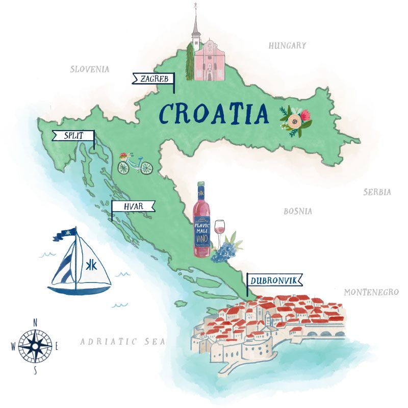 Croatia Illustrated Map By Mary Marnell Illustrated Map Bullet Journal Travel Travel Wall