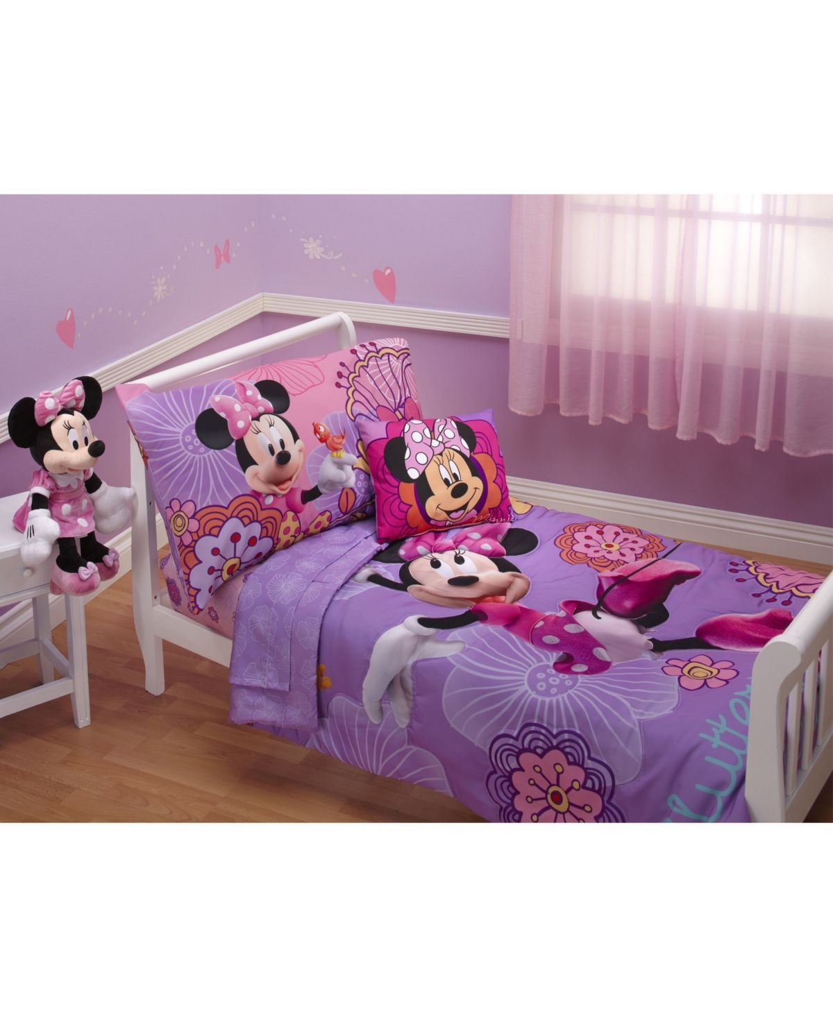 Disney Minnie Mouse Fluttery Friends 4 Piece Toddler Bed ...