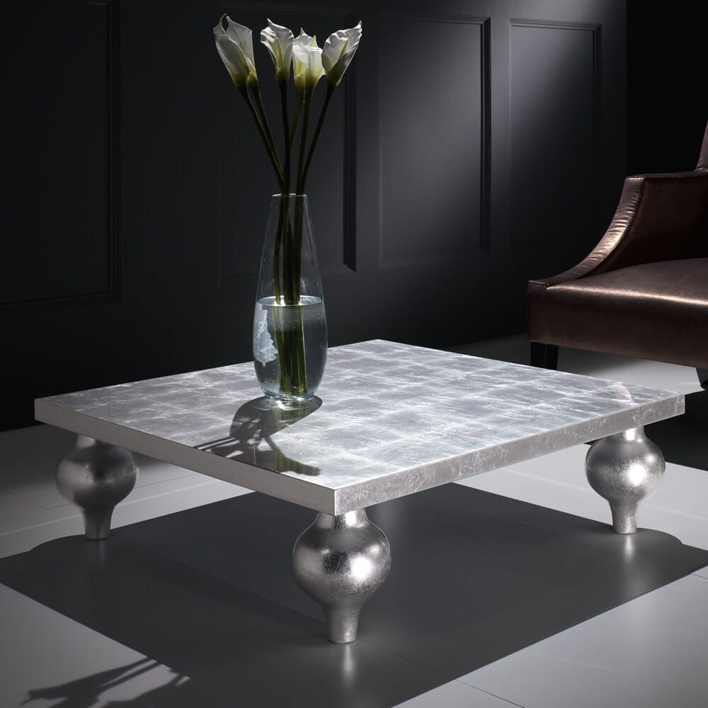 Designer silver leaf square coffee table with images