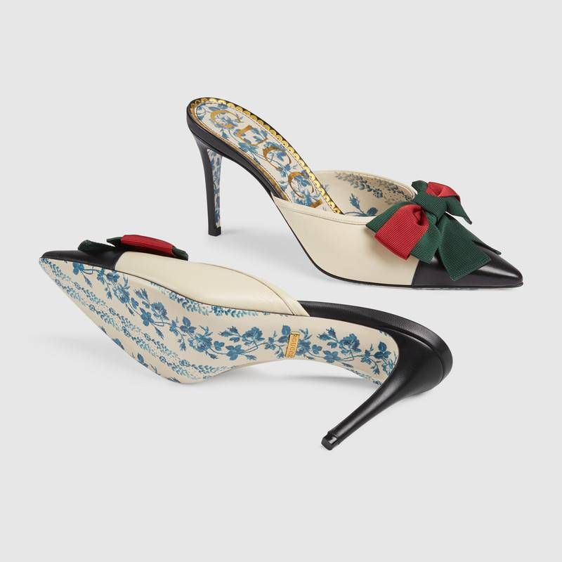 de637bab600 Best quality discount cheap Gucci women Leather mid heel slide with Web  519569 1073 on sale