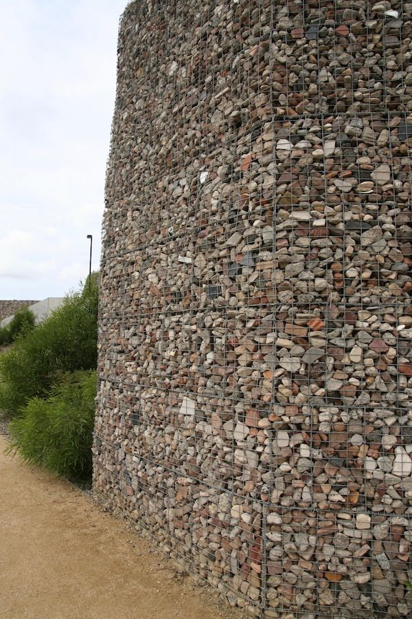 Tall Gabion Wall At Ballast Point Park, Sydney