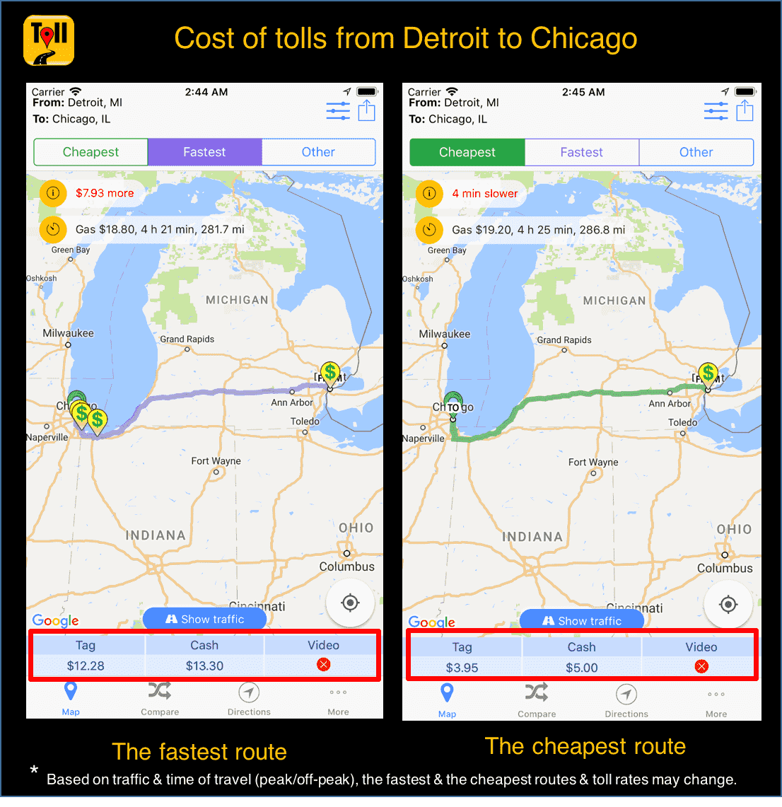 Toll Roads In Chicago Map.Cost Of Tolls From Detroit To Chicago Use Tollguru Toll Calculator