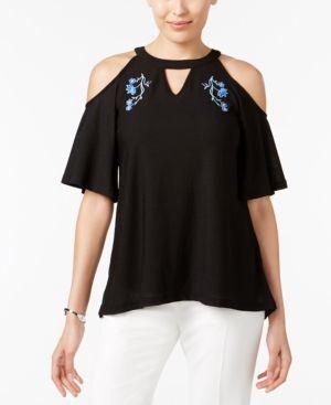 Eci Embroidered Cold-Shoulder Top - Black XL