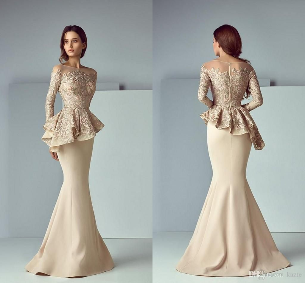 84978fe2ba86c Champagne Lace Stain Peplum Long Evening Formal Wear Dresses 2018 ...