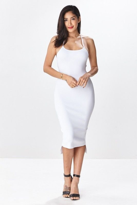 c73786e30f2 HERA Sleeveless Sexy Bodycon dress with Criss Cross tie up back Midi #hera  #StretchBodycon #Casual