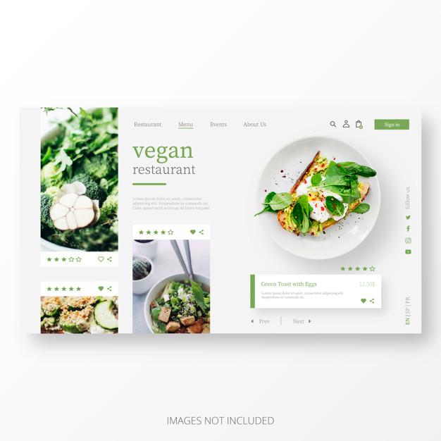 Beautiful Vegan Restaurant Landing Page Template Vector Free