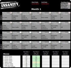 Insanity Workout Schedule Pdf  Calendar  All Workout Routines