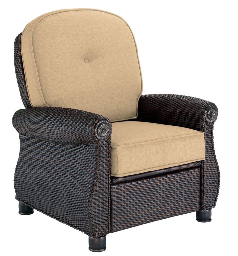 La Z Boy Outdoor Breckenridge Resin Wicker Patio Furniture Recliner (Brick  Red) With All Weather Sunbrella Cushions